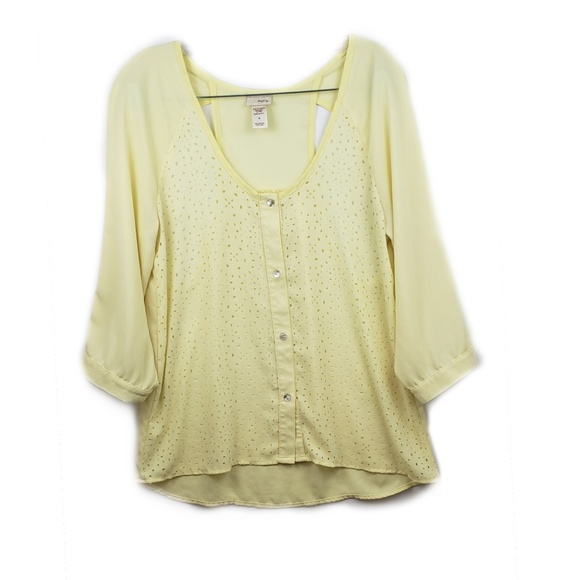230f8fa9d Daytrip Tops | Yellow Cutout Flower Top | Poshmark